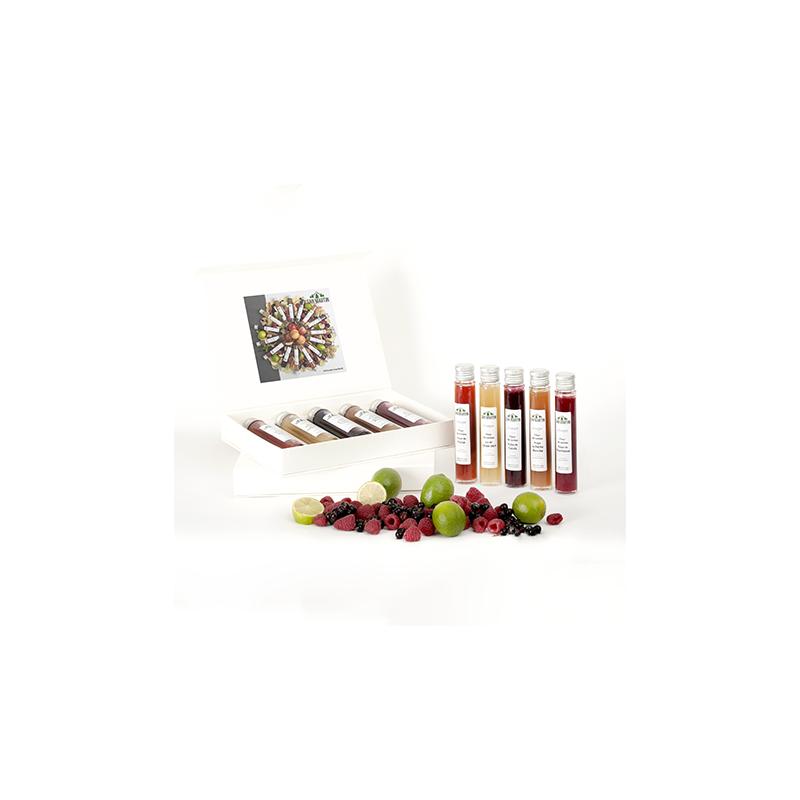 Coffret Vinaigre Fleur de Sureau pulpe de Fruit Citron, Framboise, Fraise, Cassis, Pêche Blanche Nos Saveurs de France