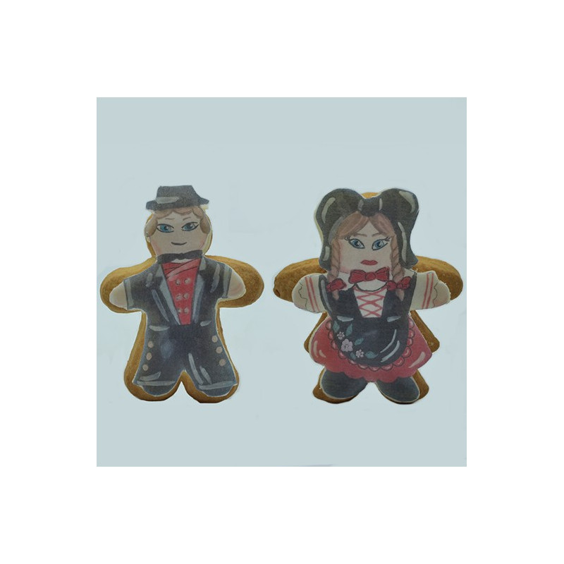 Biscuit Le couple d'Alsacien en costume traditionnel